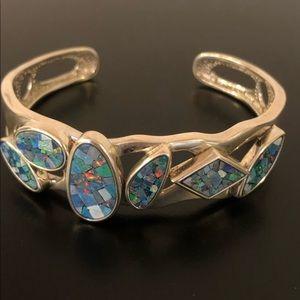 Sterling silver mosaic opal bracelet